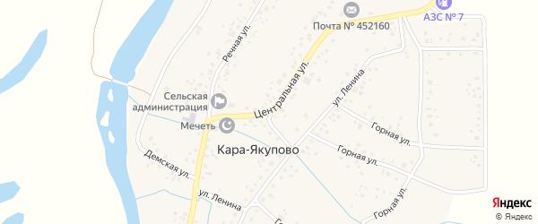 Центральная улица на карте села Кара-Якупово с номерами домов