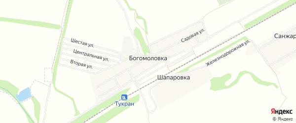 Карта деревни Богомоловки в Башкортостане с улицами и номерами домов
