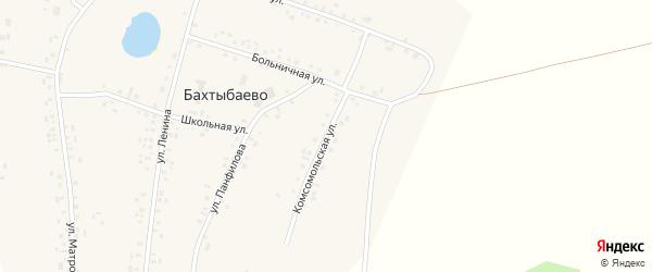 Комсомольская улица на карте села Бахтыбаево с номерами домов