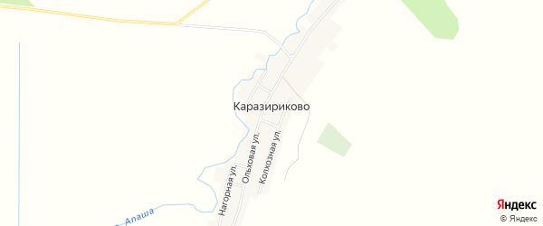 Карта деревни Каразириково в Башкортостане с улицами и номерами домов