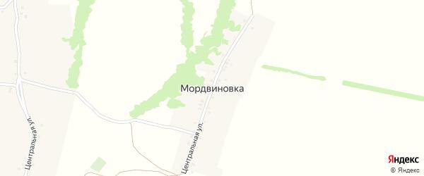 Центральная улица на карте деревни Мордвиновки с номерами домов