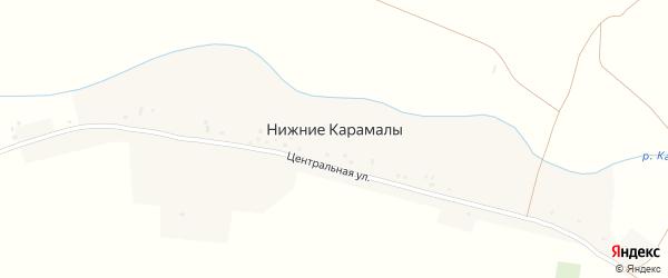 Центральная улица на карте деревни Нижние Карамалы с номерами домов