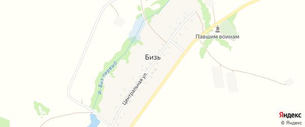 Центральная улица на карте деревни Бизи с номерами домов