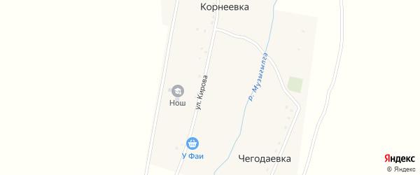 Улица Кирова на карте деревни Корнеевки с номерами домов