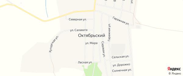 Карта села Октябрьского в Башкортостане с улицами и номерами домов