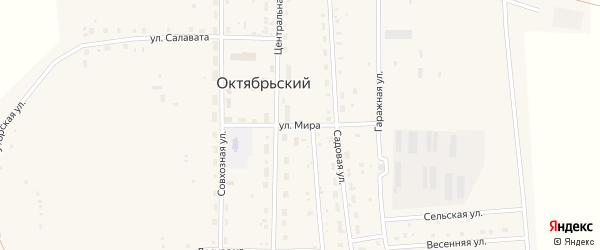 Улица Мира на карте села Октябрьского с номерами домов