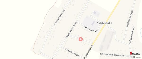 Первомайская улица на карте села Кармасана с номерами домов