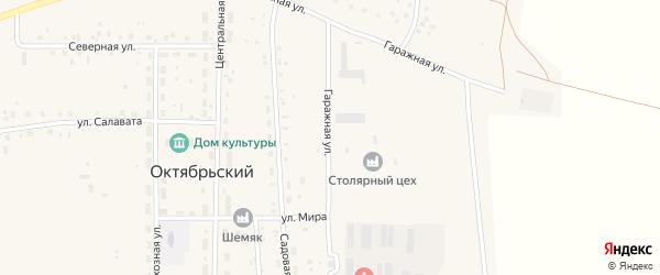 Гаражная улица на карте села Октябрьского с номерами домов