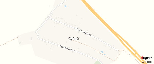 Трактовая улица на карте деревни Субая с номерами домов
