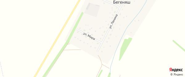 Улица Мира на карте деревни Бегеняша с номерами домов