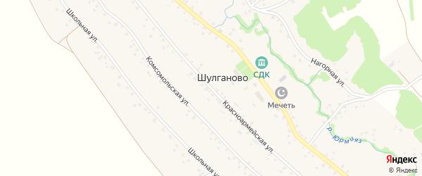 Красноармейская улица на карте села Шулганово с номерами домов