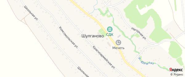 Нагорная улица на карте села Шулганово с номерами домов
