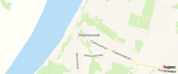 Карта деревни Никольского города Бирска в Башкортостане с улицами и номерами домов