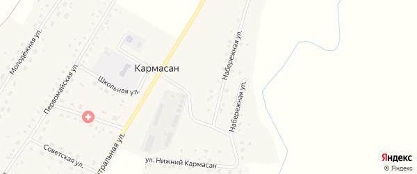 Набережная улица на карте села Кармасана с номерами домов