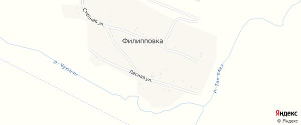 Лесная улица на карте села Филипповки с номерами домов