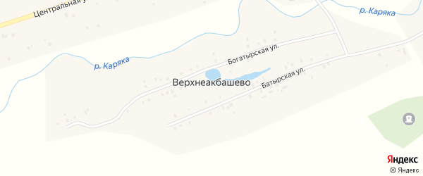 Богатырская улица на карте деревни Верхнеакбашево с номерами домов