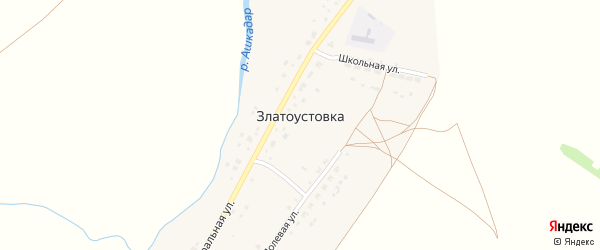 Школьная улица на карте деревни Златоустовки с номерами домов