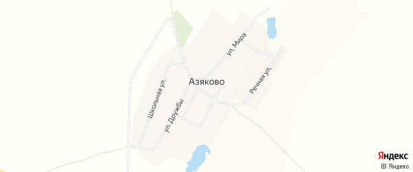 Карта деревни Азяково в Башкортостане с улицами и номерами домов