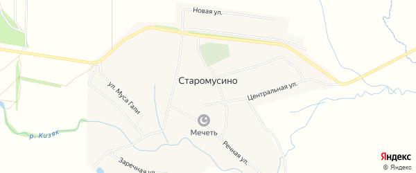 СНТ Дубки на карте села Старомусино с номерами домов