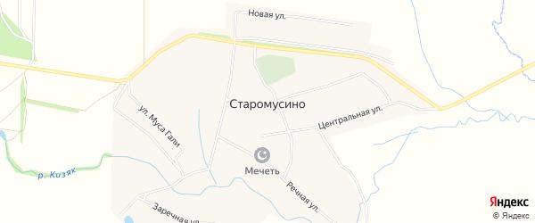 СНТ Ак Чишма на карте села Старомусино с номерами домов