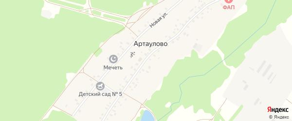 Центральная улица на карте деревни Артаулово с номерами домов