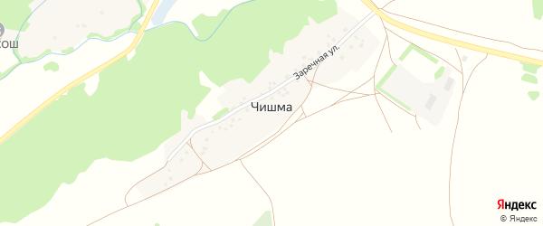 Заречная улица на карте деревни Чишмы с номерами домов
