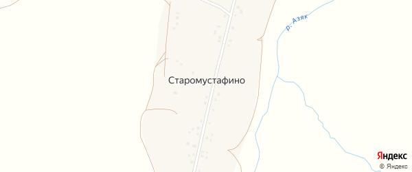 Школьная улица на карте деревни Старомустафино с номерами домов
