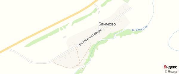 Улица Мажита Гафури на карте деревни Баимово с номерами домов