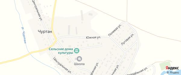 Южная улица на карте деревни Чуртана с номерами домов