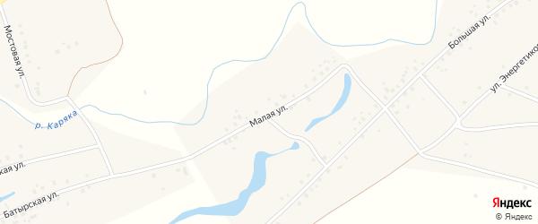 Малая улица на карте деревни Среднеакбашево с номерами домов