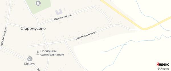 Центральная улица на карте села Старомусино с номерами домов