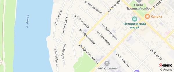 Улица Мушникова на карте Бирска с номерами домов
