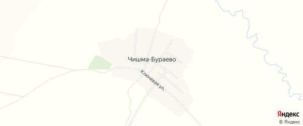 Карта деревни Чишма-Бураево в Башкортостане с улицами и номерами домов