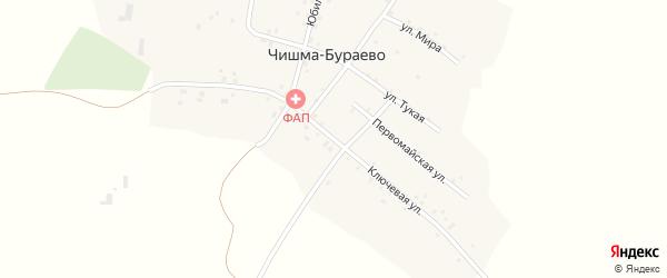 Ключевая улица на карте деревни Чишма-Бураево с номерами домов