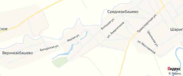 Карта деревни Среднеакбашево в Башкортостане с улицами и номерами домов