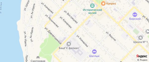 Улица Комарова на карте Бирска с номерами домов