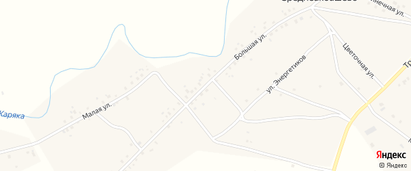Большая улица на карте деревни Среднеакбашево с номерами домов
