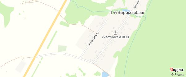 Лесная улица на карте деревни 1-й Зиримзибаша с номерами домов