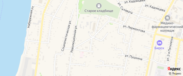 Улица Худайбердина на карте Бирска с номерами домов