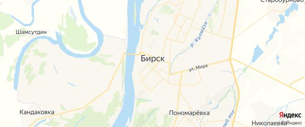 Карта Бирска с районами, улицами и номерами домов