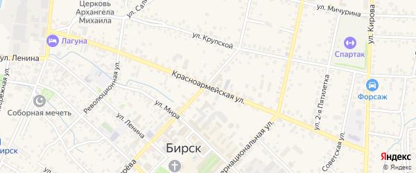 Красноармейская улица на карте Бирска с номерами домов