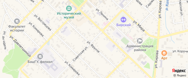 Советская улица на карте Бирска с номерами домов