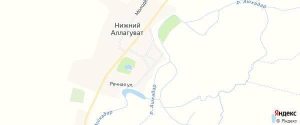 Карта деревни Нижнего Аллагувата в Башкортостане с улицами и номерами домов