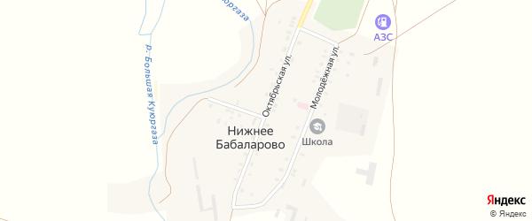Октябрьская улица на карте села Нижнее Бабаларово с номерами домов