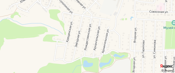 Рождественская улица на карте Бирска с номерами домов