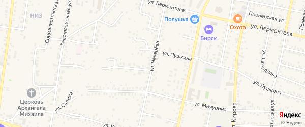 Улица Чеверева на карте Бирска с номерами домов
