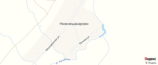 Молодежная улица на карте деревни Нижнешакарово с номерами домов