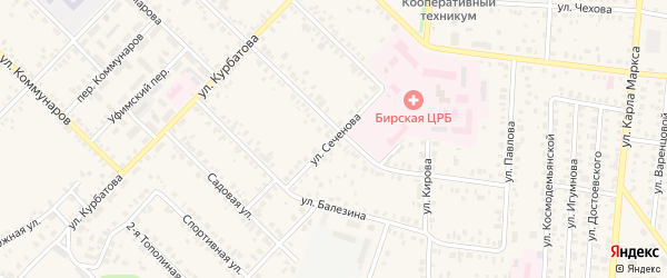 Улица Сеченова на карте Бирска с номерами домов