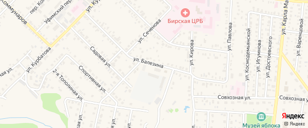 Улица Балезина на карте Бирска с номерами домов