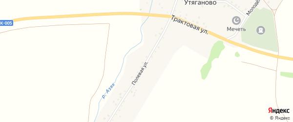 Полевая улица на карте деревни Утяганово с номерами домов